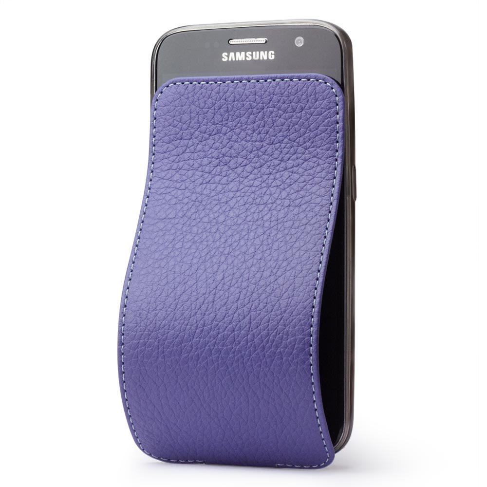 Чехол для Samsung Galaxy S7 из натуральной кожи теленка, цвета сирени