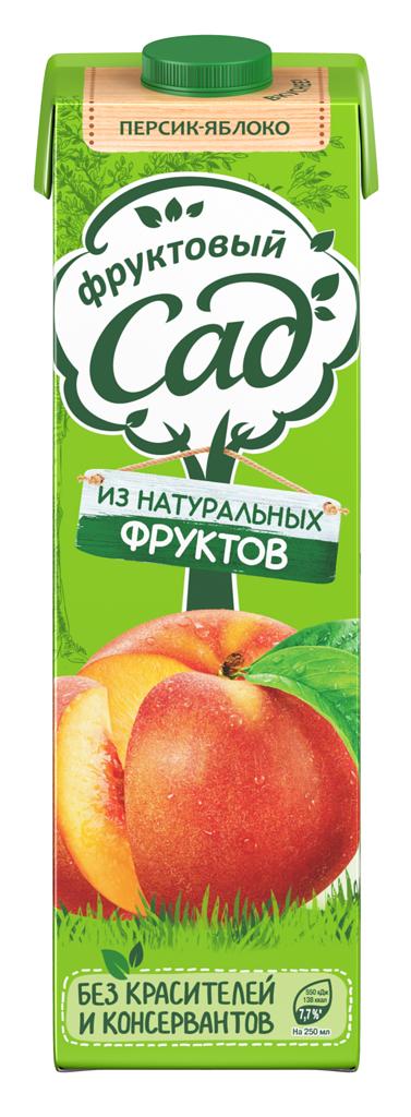 Фруктовый Сад Персик-Яблоко с мякотью 0,95л