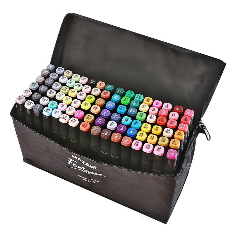 Mazari Fantasia набор маркеров для скетчинга 96 шт в сумке пенале - двусторонние спиртовые пуля/долото 3.0-6.2 мм