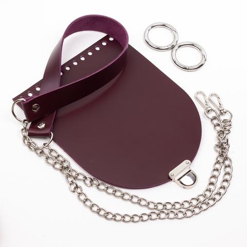 """Комплект для сумочки Орео """"Вино"""". Ручка с цепочкой и замок """"Маленький литой"""""""