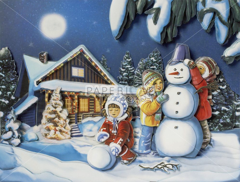 Папертоль Зимние каникулы — собранная модель, вид спереди