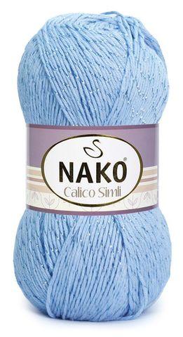 Пряжа Nako Calico Simli голубой 5028