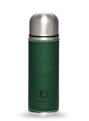Термос Арктика (108-700 зелёный) 0,7 литра с узким горлом, зеленый, кожаная вставка