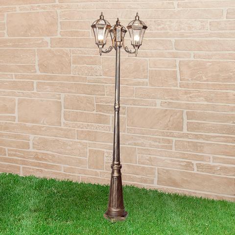 Уличный трехрожковый светильник на столбе IP44 Capella F/3 черное золото
