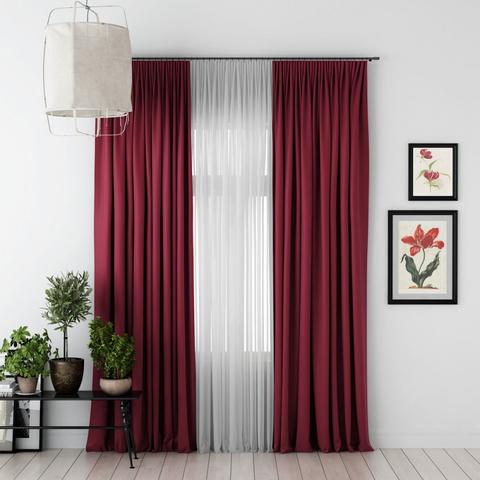 Комплект штор и тюль Джина блэкаут бордовый