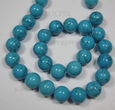 Бусина Бирюза (искусств), шарик, цвет - голубой, 14 мм, нить ()