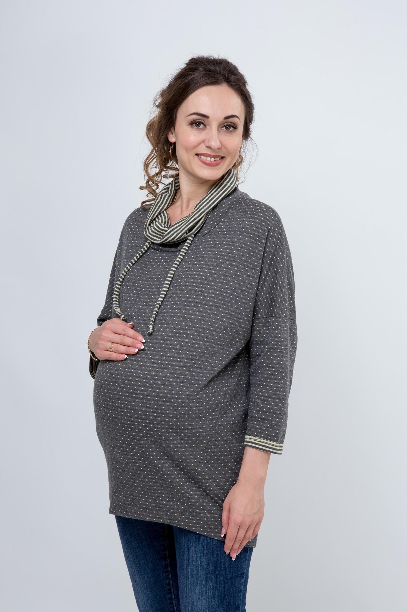 Джемпер для беременных 03808 серый/желтый горох