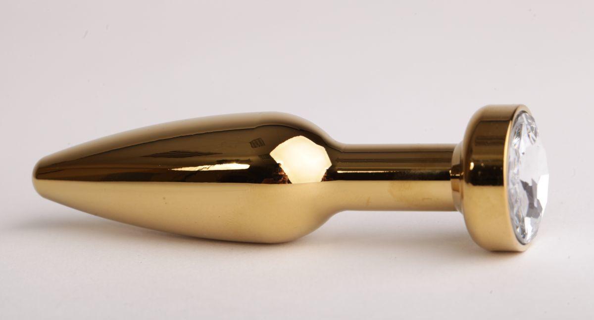 Золотистая анальная пробка с прозрачным кристаллом - 11,2 см.