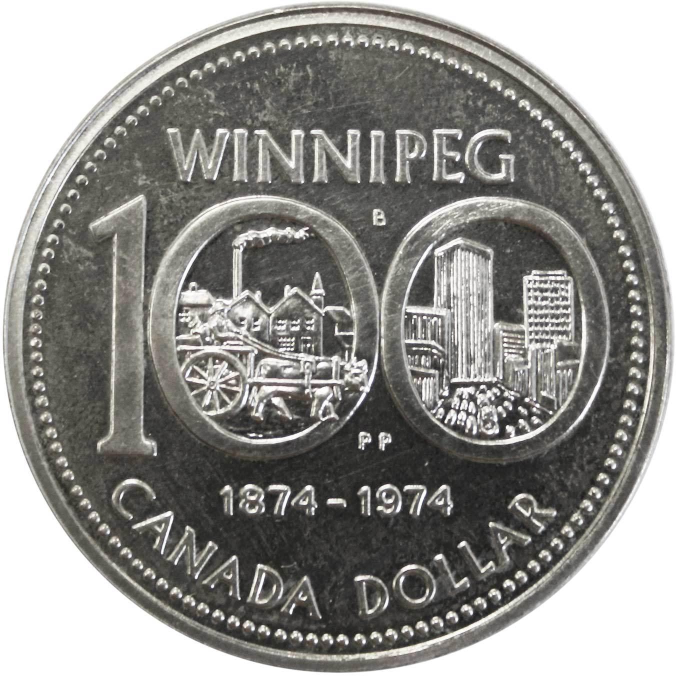 1 доллар. 100 лет городу Виннипег. Канада. Серебро. 1974 год. BrUNC