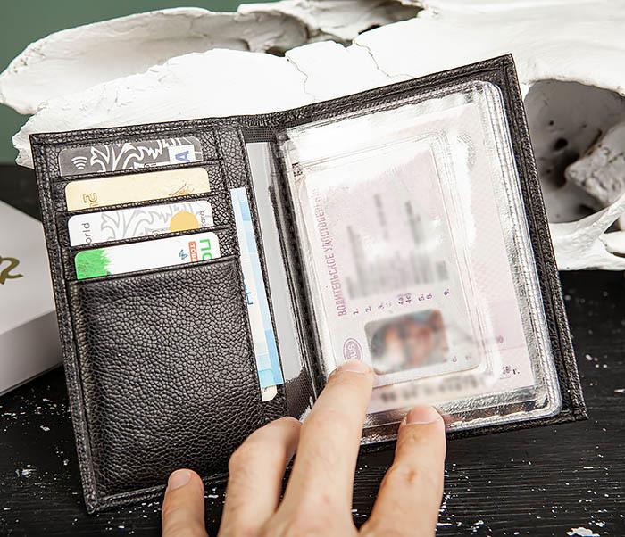 BC217-1 Кожаная обложка для авто документов и карт «Santini», черная