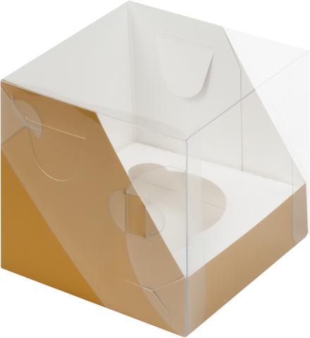 Коробка для 1 капкейка с прозрачной крышкой,10*10*10см(крафт)