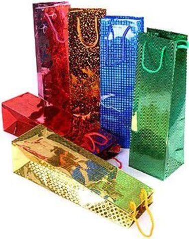 Подарочные пакеты 12х36х12 голографический