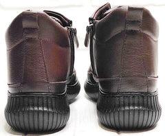 Термо ботинки кожаные женские Evromoda 535-2010 S.A. Dark Brown.