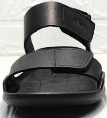 Кожаные сандали мужские босоножки с открытым носком Zlett 7083 Black.