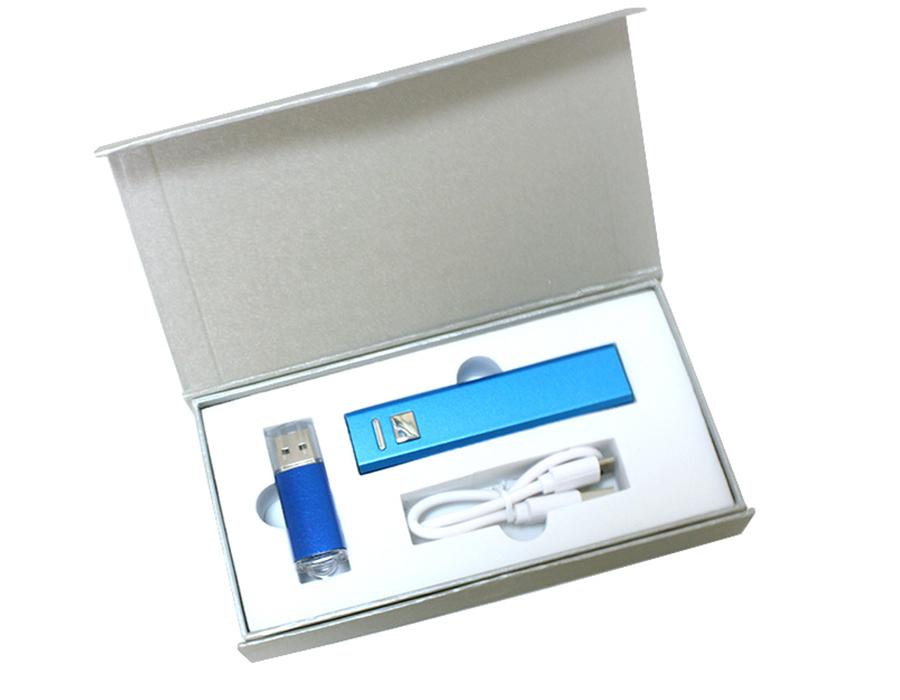 Подарочный набор + внешний аккумулятор + флешка 8-32 Гб синий