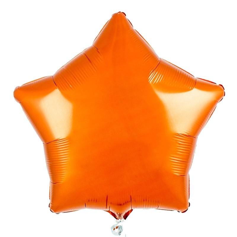 Фольгированный шар звезда, цвет оранжевай