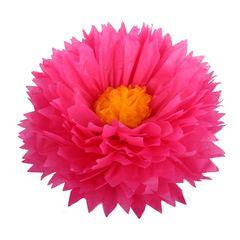Бумажный цветок 50 см амарантовый+ярко-желтый