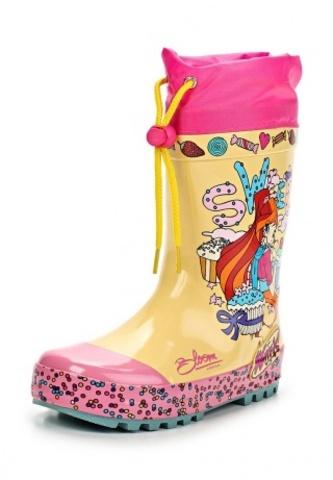 Резиновые сапоги Винкс (Winx) утепленные на шнурках для девочек, цвет желтый розовый. Изображение 3 из 8.