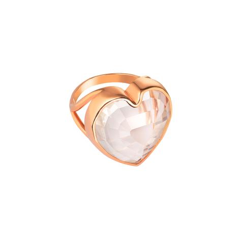 Кольцо-сердце из хрусталя ступенчатой огранки в позолоте