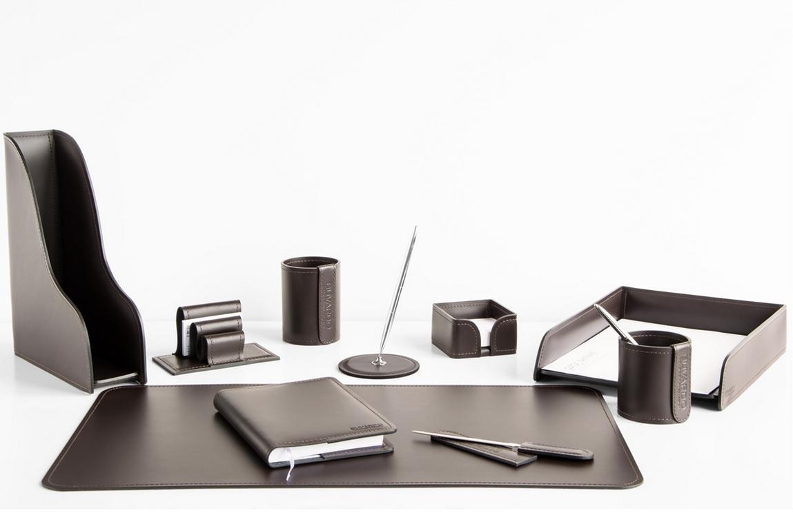 Набор Buvardo на стол руководителя 1492-СТ 10 предметов шоколад. Вариант расстановки 1.