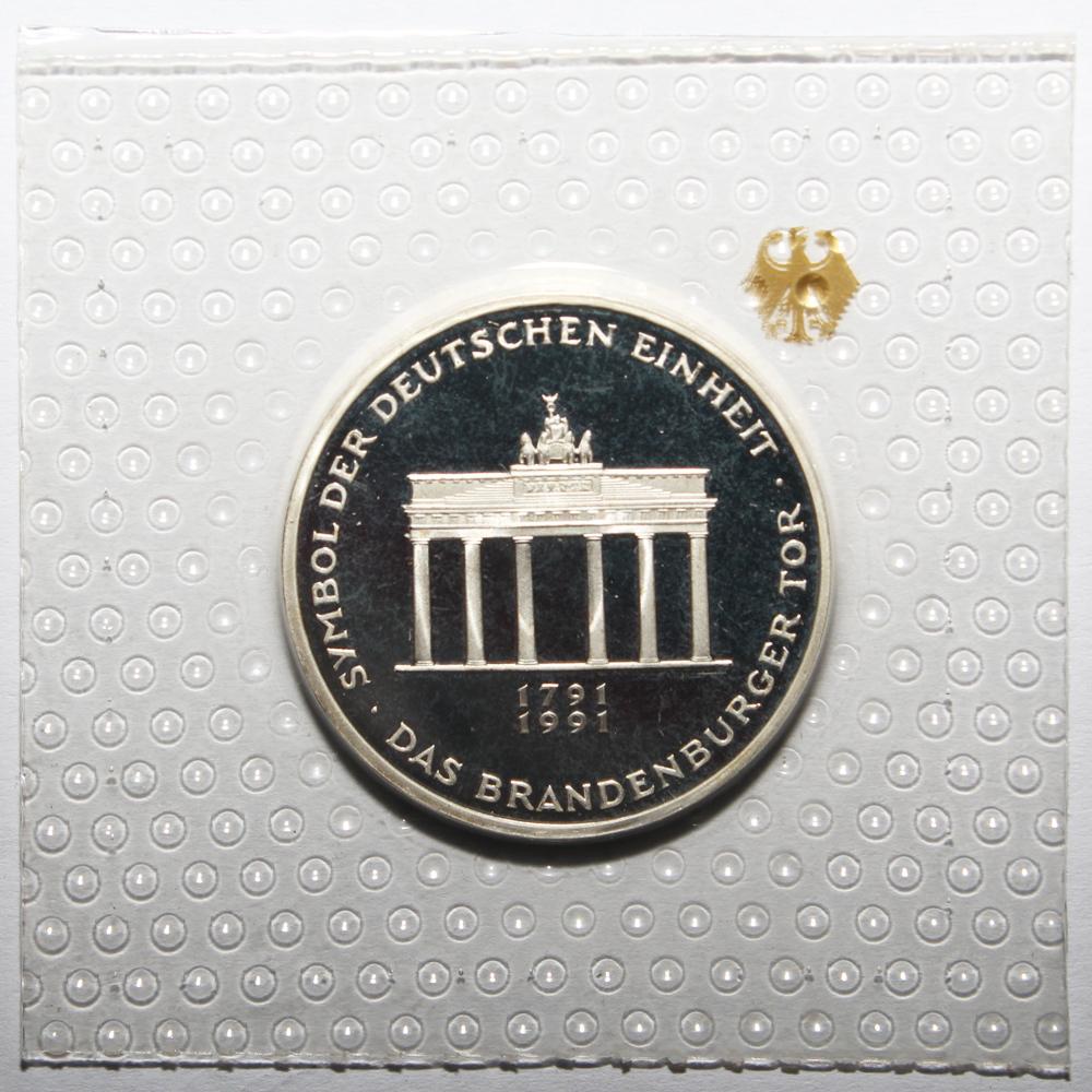 10 марок 1990 год (A) 200 лет Бранденбургским Воротам Германия PROOF в родной запайке
