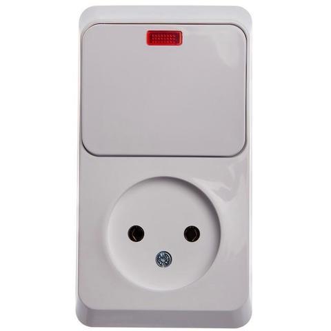 Блок на 2 поста вертикальный, розетка электрическая без заземления и выключатель одноклавишный с подсветкой. Цвет Белый. Schneider Electric(Шнайдер электрик). Этюд. BPA16-206B