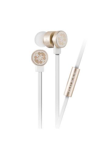 Guess / Наушники проводные с микрофоном | бело-золотой