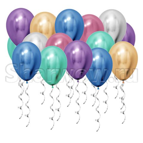 Воздушные шары под потолок Ассорти хром