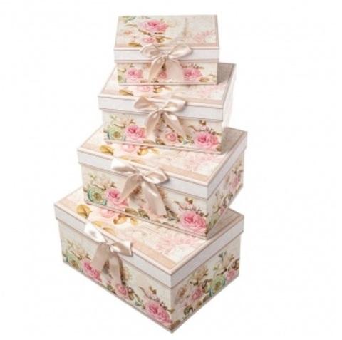 Набор коробок прямоугольных Париж 4шт, 23х16х13см, бежевый/розовый