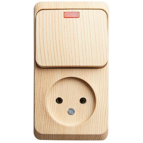Блок на 2 поста вертикальный, розетка электрическая без заземления и выключатель одноклавишный с подсветкой. Цвет Сосна. Schneider Electric(Шнайдер электрик). Этюд. BPA16-206D
