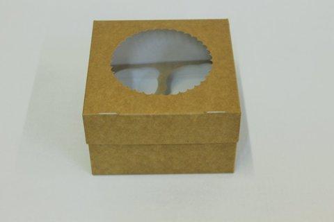 Коробка для 4 капкейков 16*16*10 с окном, крафт/белая