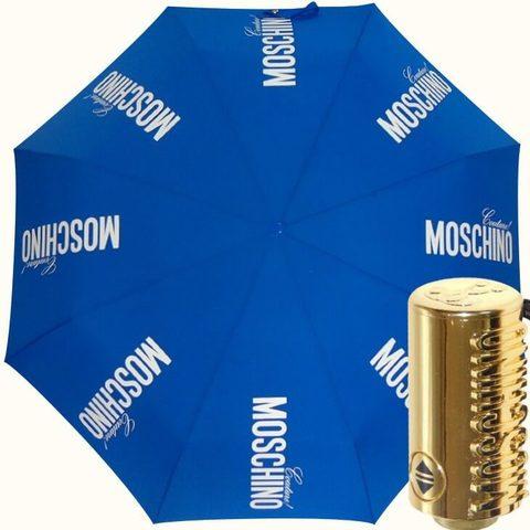 синий зонт автомат с золотой ручкой