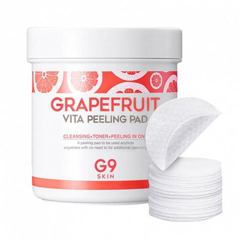 Очищающие ватные диски с эффектом пилинга ( с AHA, BHA и PHA кислотами) G9SKIN Grapefruit Vita Peeling Pad Berrisom