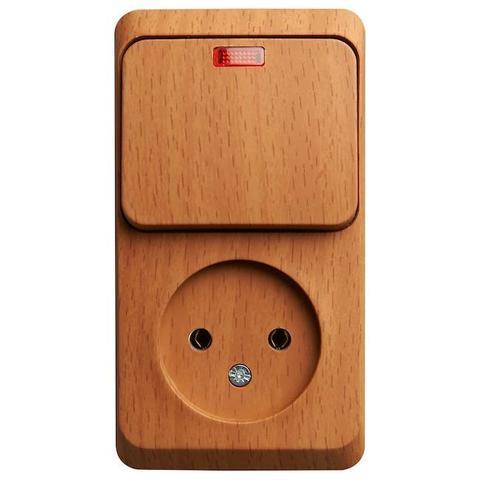 Блок на 2 поста вертикальный, розетка электрическая без заземления и выключатель одноклавишный с подсветкой. Цвет Бук. Schneider Electric(Шнайдер электрик). Этюд. BPA16-206T
