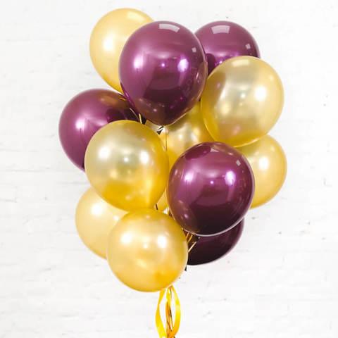 25 шаров 36 см бордовый и золото
