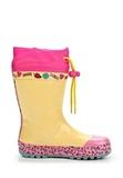 Резиновые сапоги Винкс (Winx) утепленные на шнурках для девочек, цвет желтый розовый. Изображение 2 из 8.
