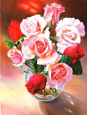 Алмазная Мозаика 50x65 Розы в прозрачной вазе (арт. HMP56014 )