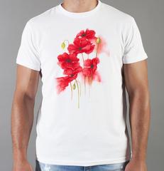 Футболка с принтом Цветы (Маки) белая 006