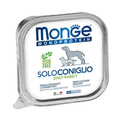 Купить Monge Monoprotein Solo Manzo Only Rabbit Монобелковый паштет с кроликом для взрослых собак всех пород 150 гр