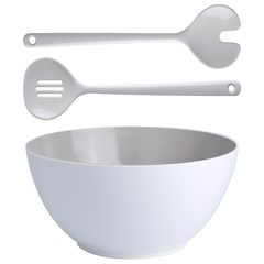 Set of melamine salad bowl with cutlery, Summer collection, colour Bone