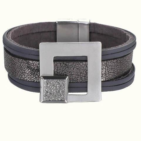 женский кожаный браслет серебряная пряжка