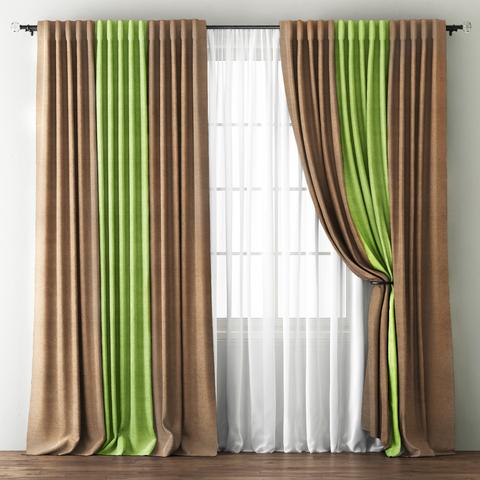 Комплект штор с подхватами Карин бежево-зеленый