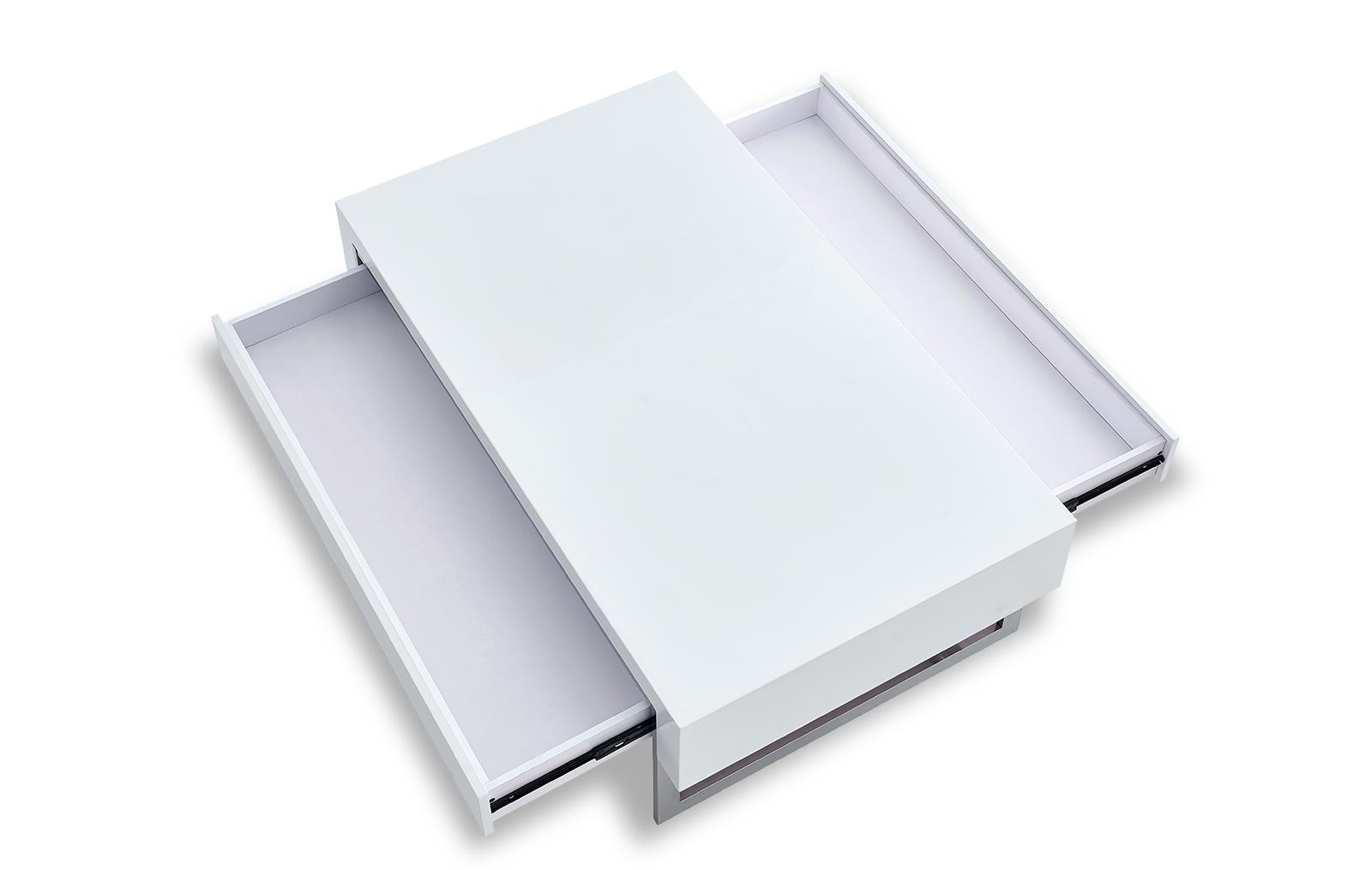 Стол журнальный CT-140 белый в разложенном состоянии