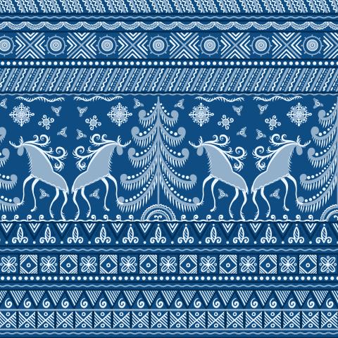 Олени, ель, солнце - символы плодородия и благополучия. Мезенская роспись. (Дизайнер Irina Skaska)
