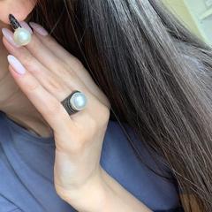 91687 - Кольцо из серебра с черными микроцирконами и жемчугом