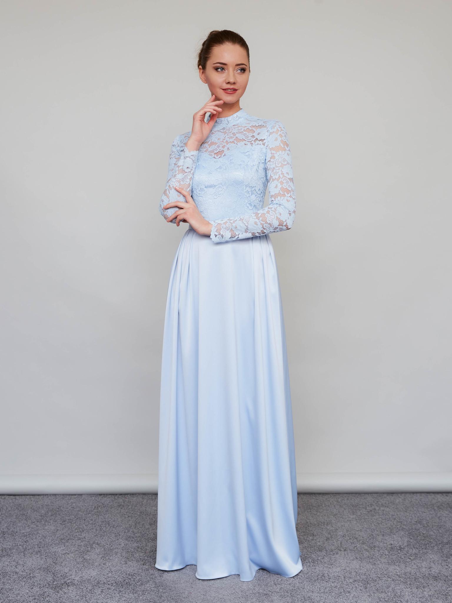 Свадебное платье-макси с кружевным верхом и длинными рукавами (голубой)