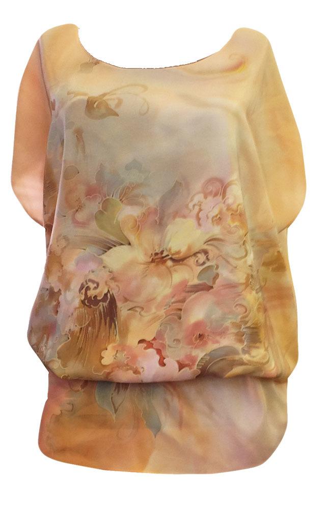 Шелковая блузка батик Персиковая жемчужина П-182