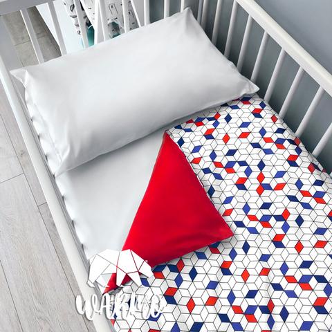 Підодіяльник дитячий 110 на 140 см з синіми і червоними фігурами фото