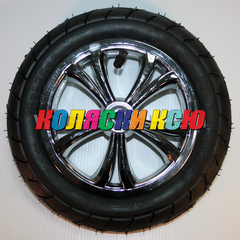 Колесо для детской коляски №005063 надув 10дюймов без вилки 47-152 10х1,75х2 темная металлизация