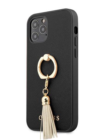 Чехол Guess Saffiano для iPhone 12/12 Pro | PU кольцо черный